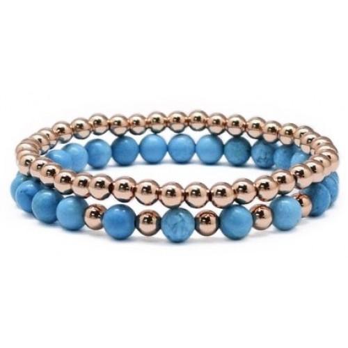 Herspirit Blue And Rose Gold Bracelet Set (BBD-18)