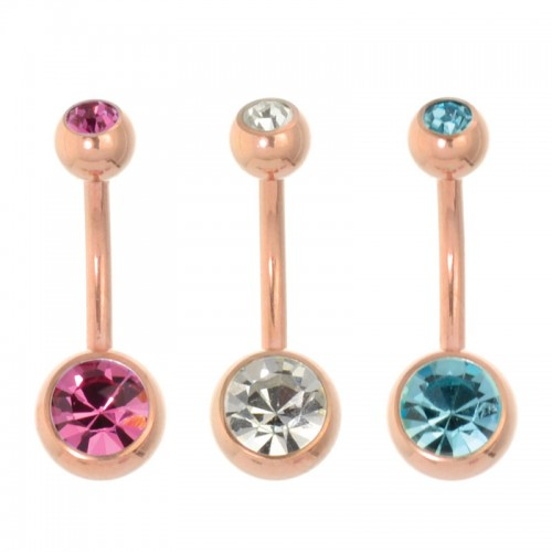 Rose Gold PVD Coated Steel Double Jewelled Navel Bar (PFRG88)