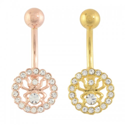 Rose Gold And Gold Plated Sterling Silver Navel Bar (SB**16)