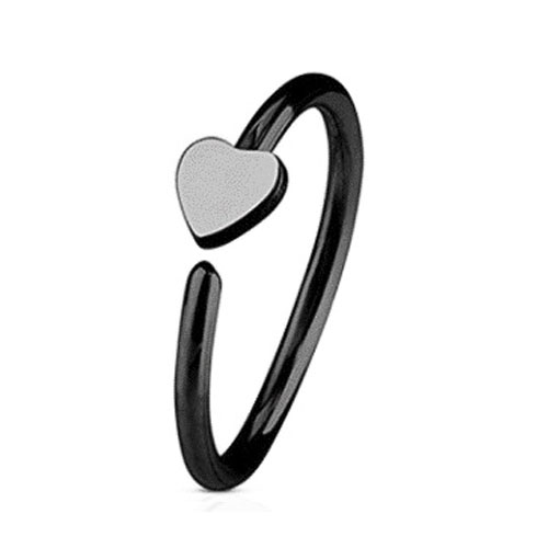 Black PVD Coated Steel Nose Ring Fixed Heart (NR270B)