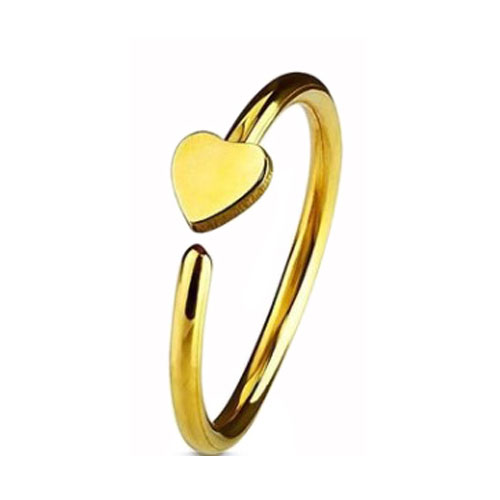 Gold PVD Coated Steel Nose Ring Fixed Heart (NR270G)