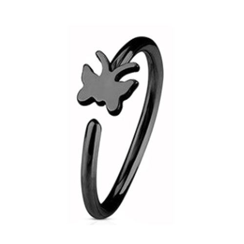 Black PVD Coated Steel Nose Ring Fixed Butterfly (NR271B)
