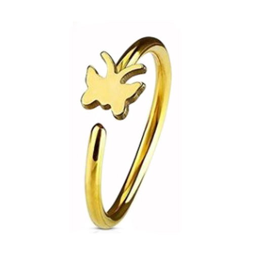 Gold PVD Coated Steel Nose Ring Fixed Butterfly (NR271G)