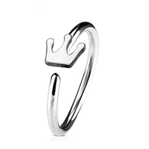 Steel Nose Ring With Fixed Crown (NR272)