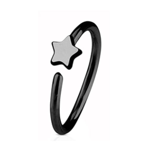 Black PVD Coated Steel Nose Ring Fixed (NR273B)
