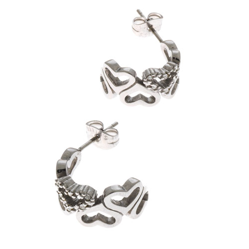 Herspirit Steel Curved Romantique Heart Ear-studs (HSE409)