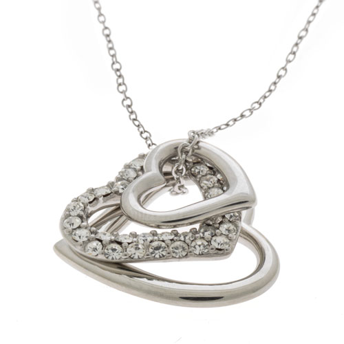 Herspirit Classique Triple Heart Crystal Pendant With Chain (HSN073)