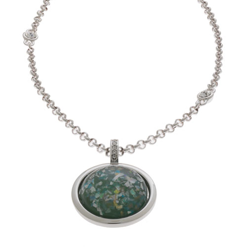Herspirit Fashion-Iconic Round Opal Effect Pendant And Chain (HSN407-A)