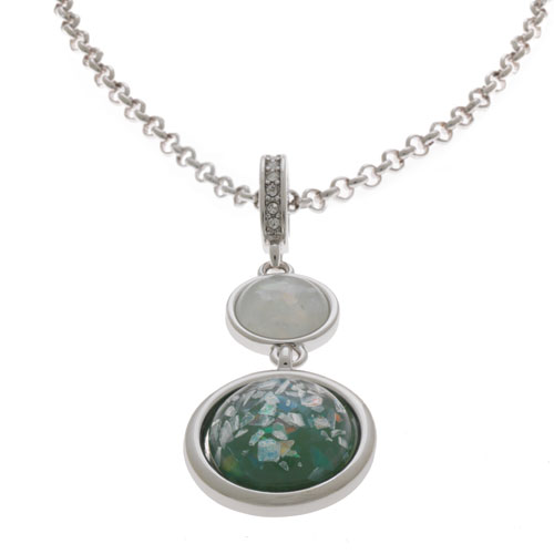 Herspirit Fashion-Iconic Round Opal Effect Pendant And Chain (HSN408-A)