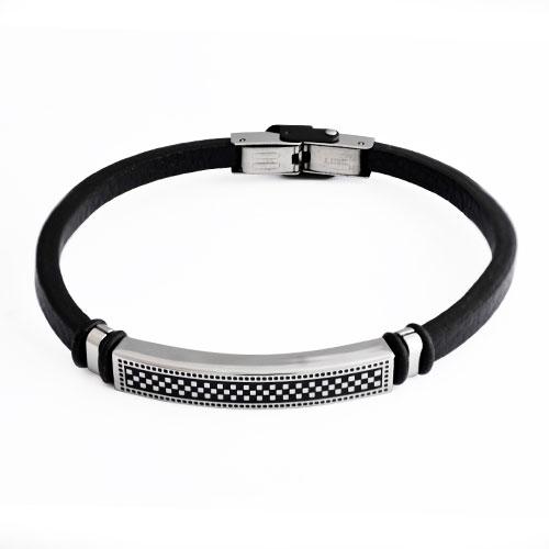 Inspirit Black Leather Brcacelet (BR658)