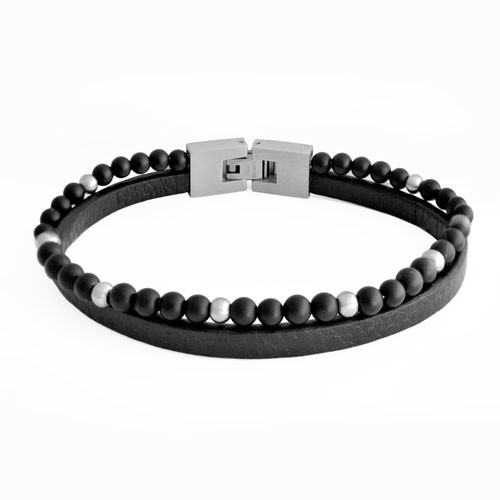 Inspirit Double Strand Leather And Bead Bracelet (BR675)