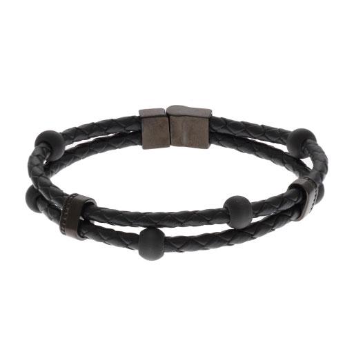 Inspirit Steel,Leather And Carbon Fibre Bead Bracelet (ISB732E)