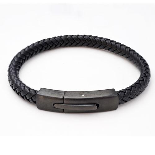 Inspirit Black Leather And Steel Bracelet (ISB1093-B)