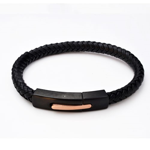 Inspirit Black Leather And Steel Bracelet (ISB1093-RG)