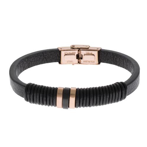 Inspirit Black Leather And Rose Gold Steel Bracelet (ISB1094-RG)
