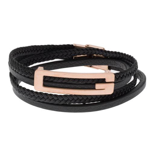 Inspirit Black Leather And Rose Gold Bracelet (ISB1099-RG)