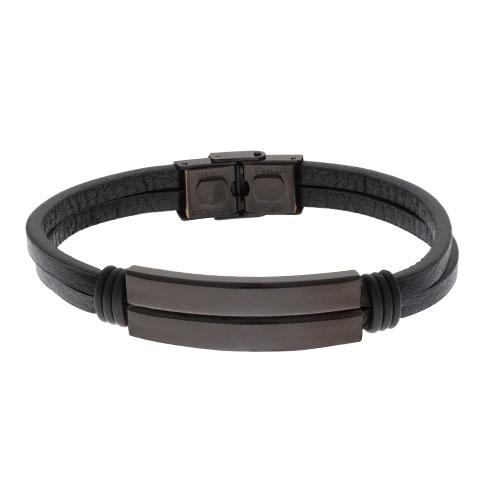 Inspirit Matt Black Steel Leather Bracelet (ISB1100-B)