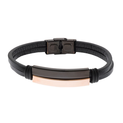 Inspirit Rose Gold Steel Leather Bracelet (ISB1100-RG)