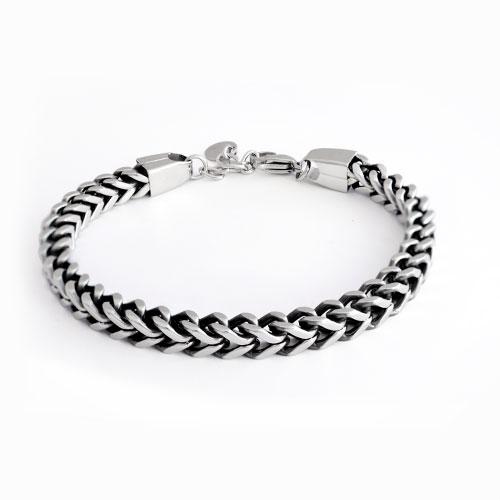 Inspirit Steel Square Curb Chain Bracelet (TSB278)