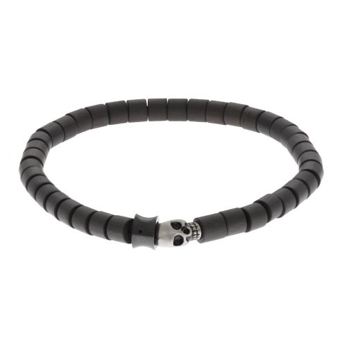 Inspirit Carbon Fibre Bead Skull Bracelet (ISB741E)