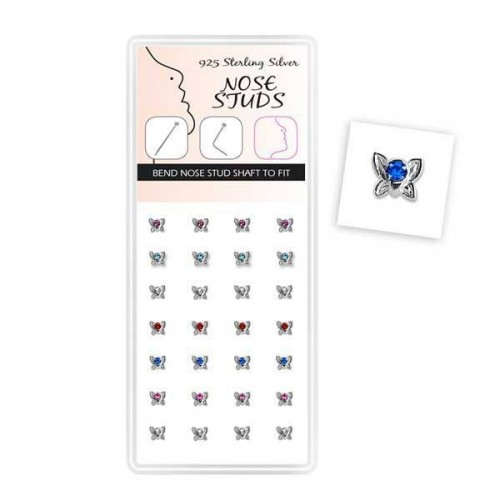 Jewelled Butterfly Nose Stud Display (DNBL-NSBT)