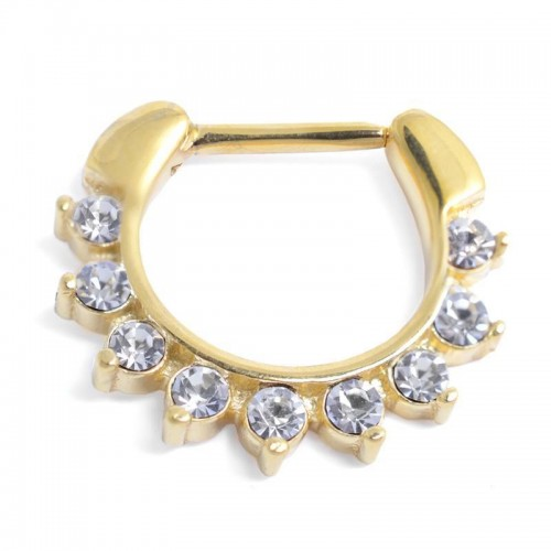 Jewelled Gold PVD Coated Septum Ring (SRG-03)